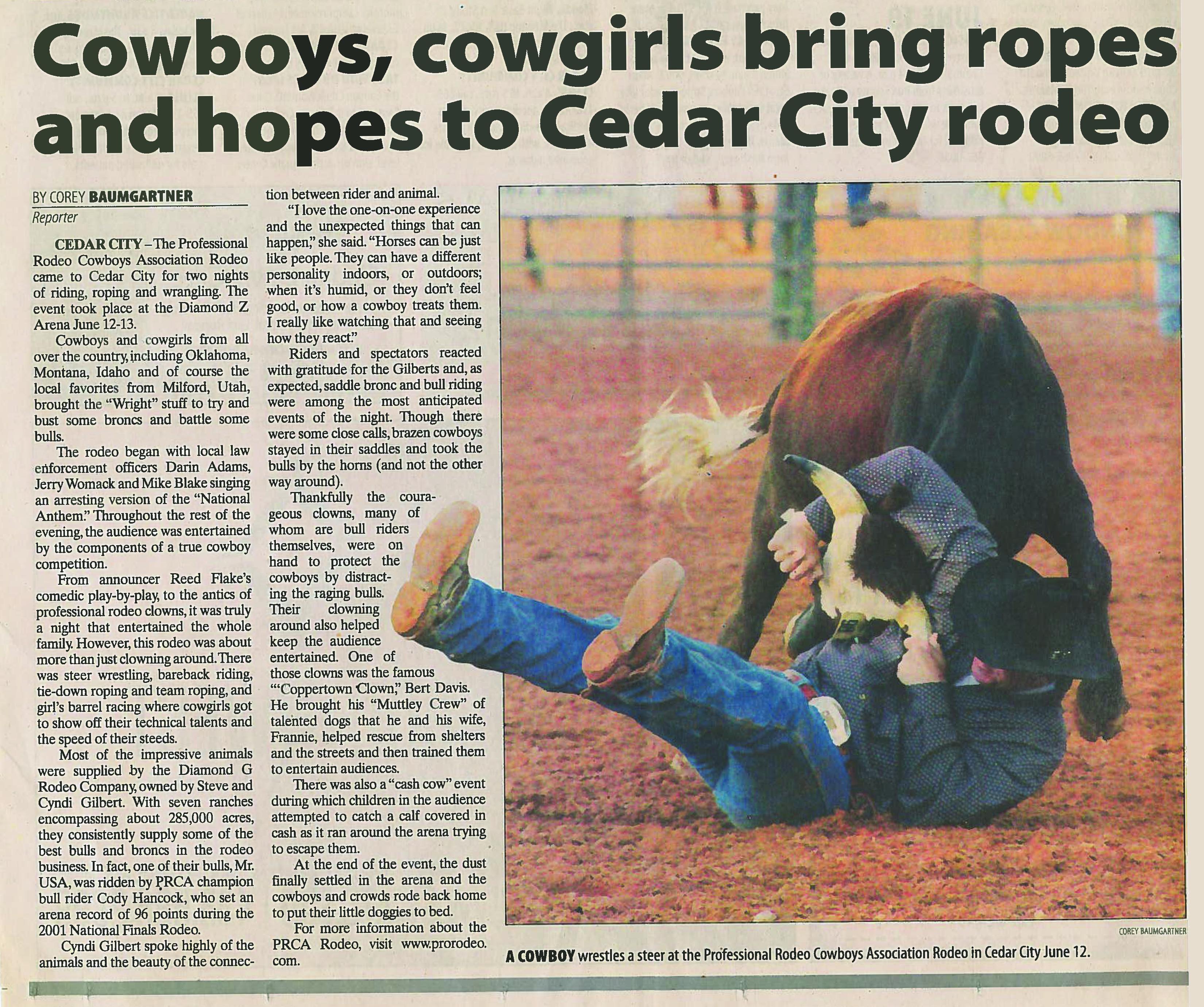 Cedar City News Articles Diamond G