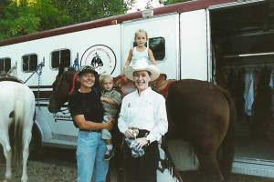 Summit Cnty Fair & Rodeo Aug 11, 2000 - Gramma Claudie with Trey & Abigail Howells, Cyndi Gilbert (abby is on whisk)