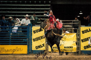 PBR Dec 31, 1997 - SLC Bullriders Only Delta Ctr Lee Green on No 61 THe Mailman 91 pts (1st place)