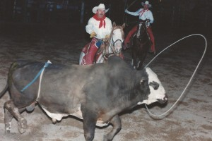 Harvest Valley Rodeo, Pahrump, NV Sept 16, 1995 - Lewie roping No. 12, Vee's Own