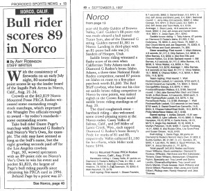 Prorodeo sports news Bull Rider scores 090397